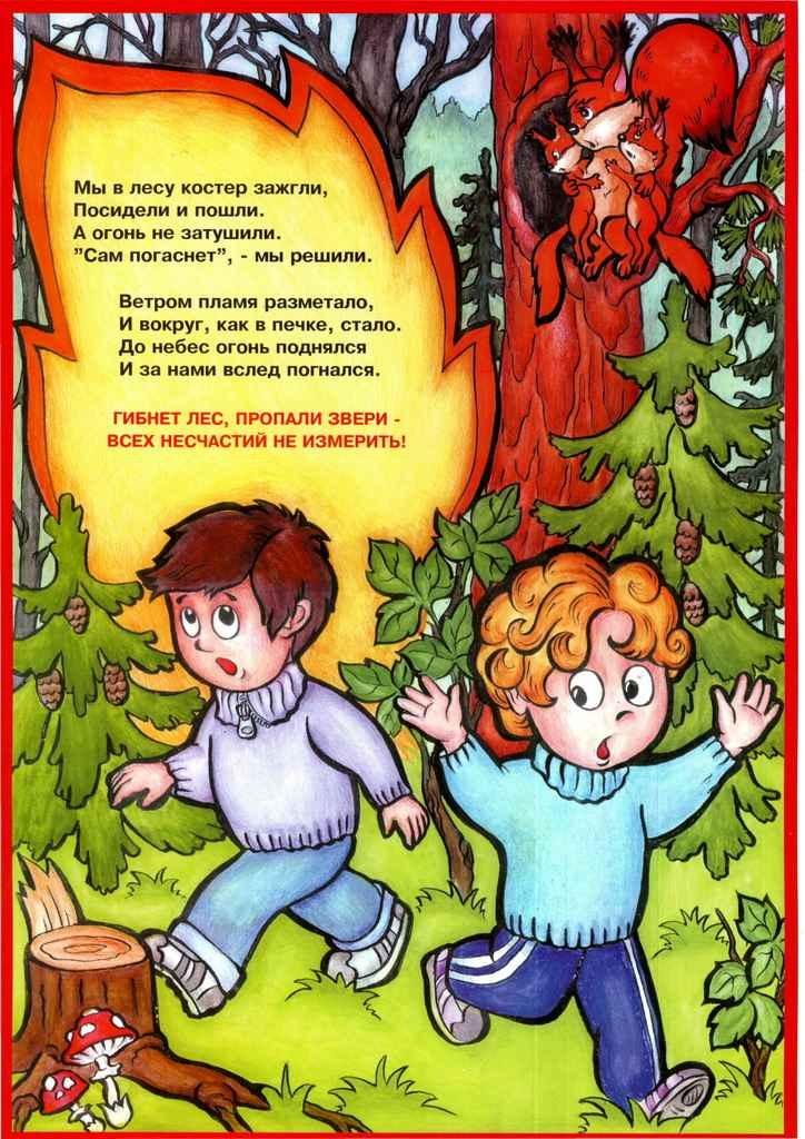 Плакаты в детский сад и школу Пожарная безопасность для